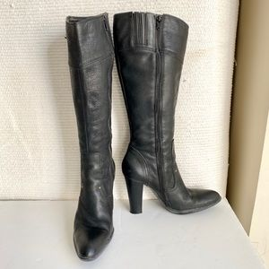 Vintage 90s Italian Leather Knee-High Boots Black
